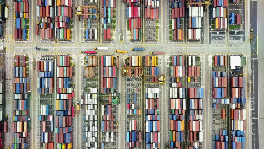 Shipping containers at ship yard, international business trade logistics import export transport industry    Shutterstock HD Video #24864056
