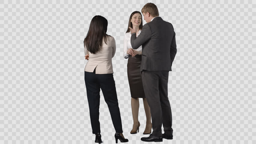 Male and two young women in office clothes are standing and looking at something behind them. Clip with alpha channel
