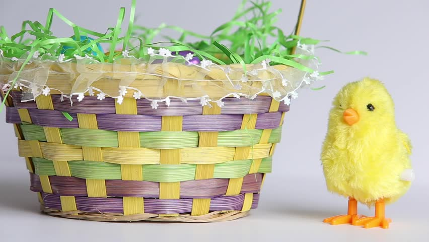Easter chick with eggs in basket stock footage video 24907043 baby chick and easter basket hd stock footage clip negle Gallery