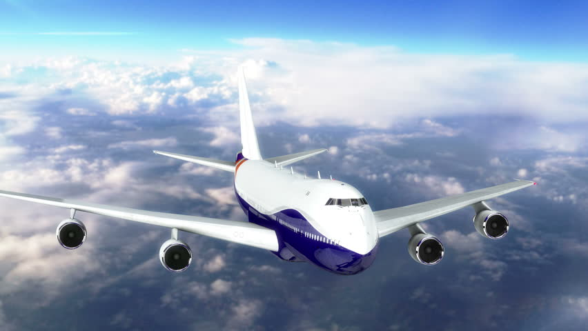 Camera chasing a commercial airplane flying above the clouds | Shutterstock HD Video #24932447