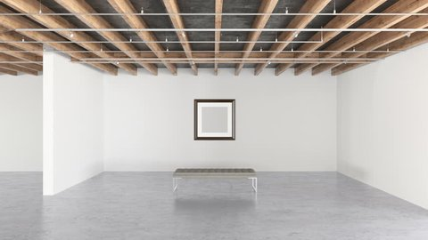 Blank frame on the bright wall in modern gallery interior