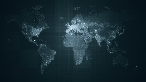 Global Grey World Map Loop. This animated World map with visual effects and glowing connections in different places on the map. Perfect for slideshows, presentation, trailers, sci-fi openers and etc.