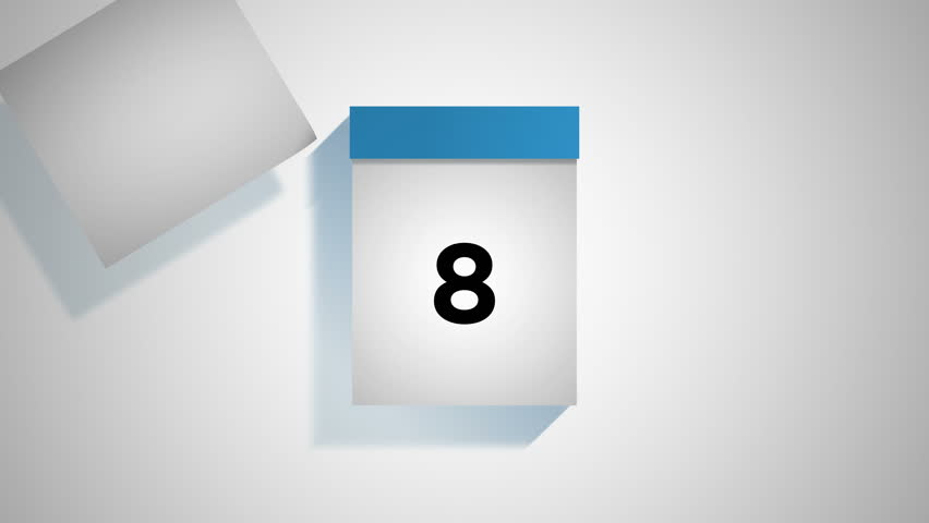 Blue calendar on a white background, flipping through 31 days of the month. Pages are torn off and fly away to the left. Loopable computer generated animation including luma matte.
