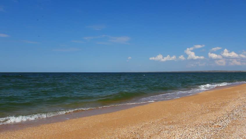 simple beach landscape. summer sea landscape hd stock footage clip simple beach