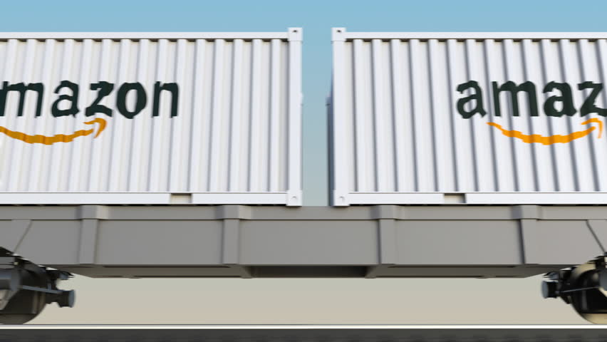 Railway transportation of containers with Amazon.com logo. Editorial 3D rendering 4K clip