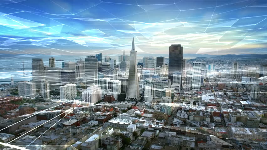Aerial view of San Francisco skyline with connections. Futuristic. Technology network concept. California, United States. Shot from a helicopter.