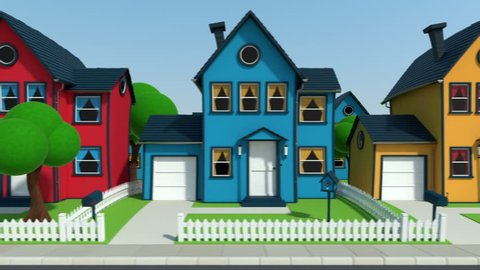 side view of driving through a cartoon suburban street - high quality 3d animation - loopable