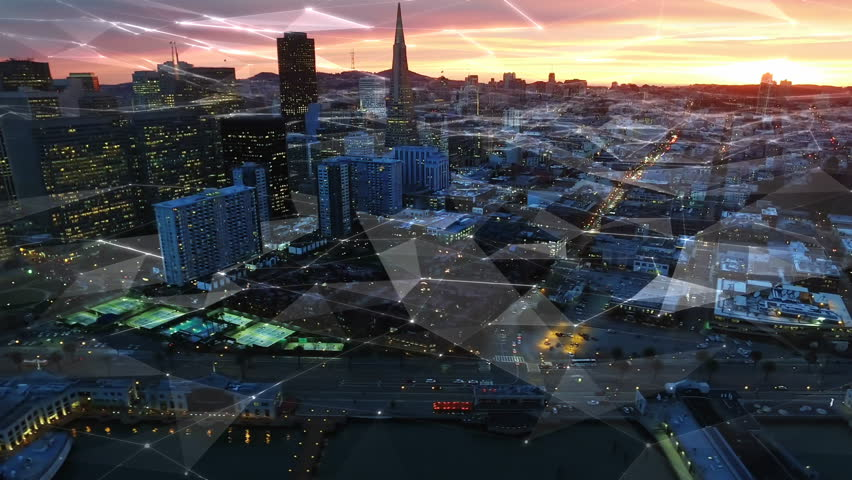 San Francisco Financial District with line connections. Futuristic. Communication. Technology. California, USA. Shot from helicopter. Sunset. #25025927