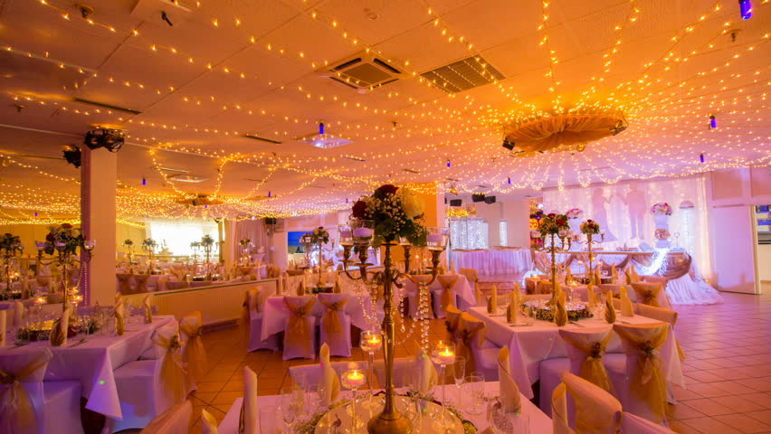 Wedding Hall Interior Decoration In Gold Stock Footage Video
