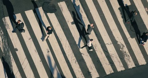 NEW YORK CITY - November 2016: Overhead view from above people crowd walking on city street intersection zebra crossing in New York NYC. 4K UHD.