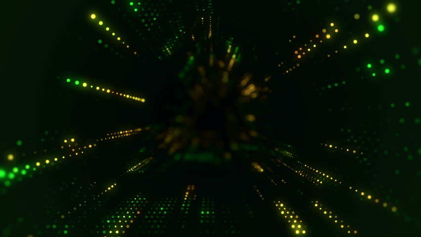 Animation of flying into digital technologic tunnel from glowing and flickering particles. Animation of seamless loop. | Shutterstock HD Video #25080557