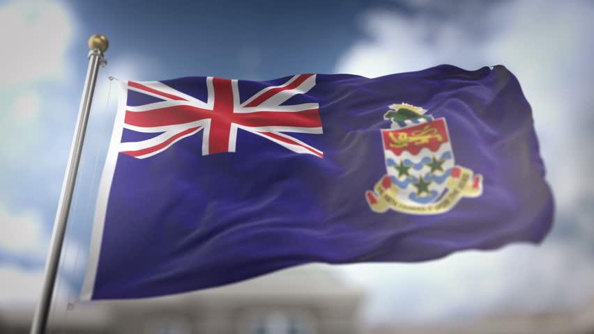 Cayman Islands Flag Waving Slow Motion 3D Rendering Blue Sky Background - Seamless Loop 4K