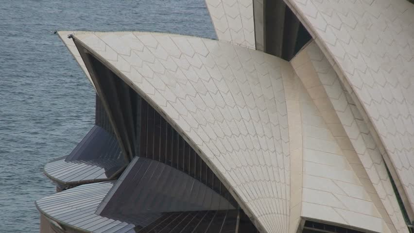 Sydney, Australia  April, 1 2008 - Aerial Sydney Opera House Building Zoom Out