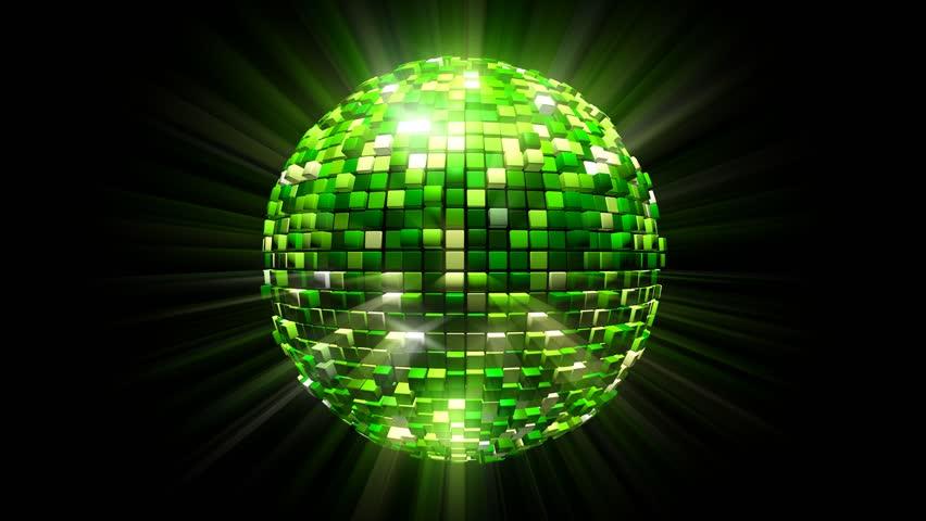 fly around green disco ball glittering mirror ball