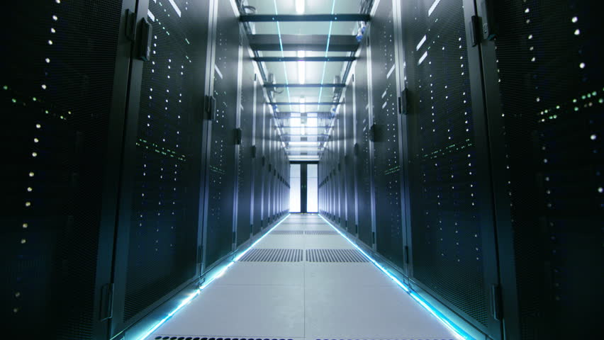 Camera Walk-Through Shot of a Working Data Center With Rows of Rack Servers. Shot on RED EPIC-W 8K Helium Cinema Camera.