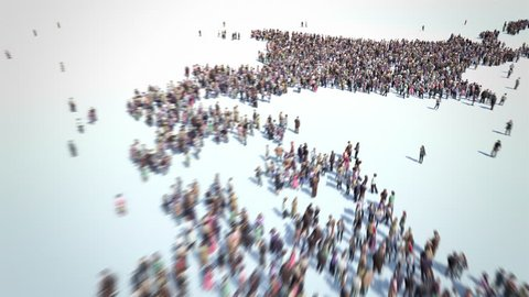 Japanese People. Thousands of people formed Map of Japan. Crowd flight over. Motion Blur. Camera zoom out.