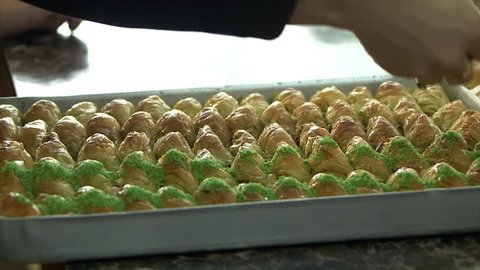 Delicious Baklava, GaziAntep, Turkey. Baklava is preparing the service.