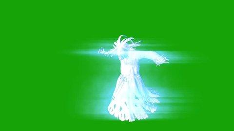 Terrifying Ghost Hangman Horror Attacks Green Screen 3D Rendering