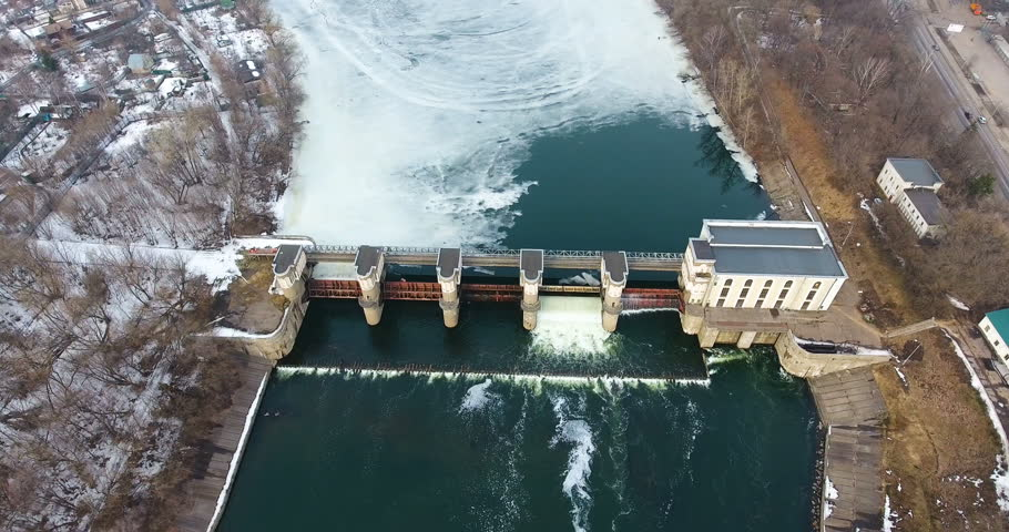 Dam in the flood. Water release from dam. Aerial view from copter, drone. #25223030