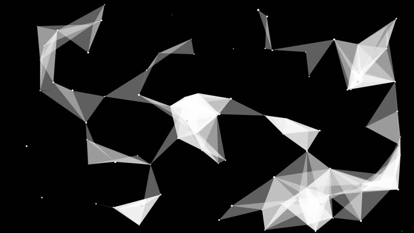Moving abstract plexus structure on a black background. Network connection between dots and lines. | Shutterstock HD Video #25237022