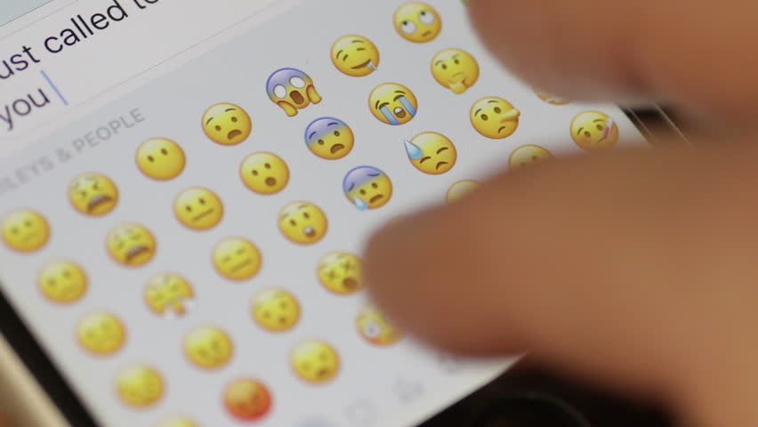 TEL-AVIV 20 MARCH 2017: Emoji keyboard on mobile smartphone