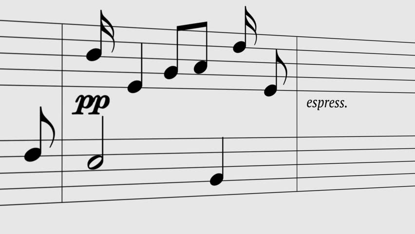 Music Notes Flowing On White Background. Seamless