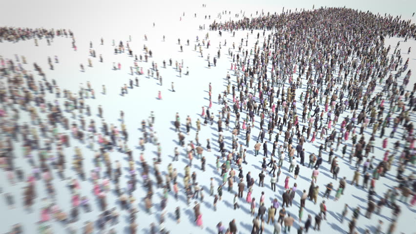 The Breakdown of Society. Thousands of people formed two opposite arrows. Concept of opposite parties, communities, groups, classes. Crowd flight over. Strong Motion Blur. Camera zoom out.