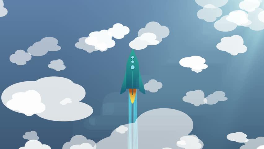 Cartoon Flat rocket flying up though clouds. | Shutterstock HD Video #25339817