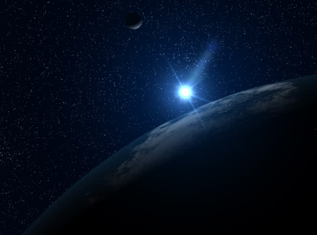A big, filmic blue Earth with sun and stars in background. HD version also available. HD version also available.   Shutterstock HD Video #253567
