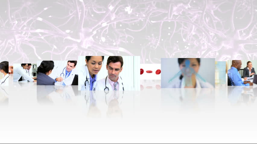 Montage 3D tablet images showing multi ethnic medical professionals in meetings and with patients mixed with CG digital motion graphics