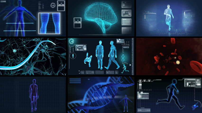 Montage digital motion graphic of a virtual 3D of running man for medical and scientific research data | Shutterstock HD Video #2539325