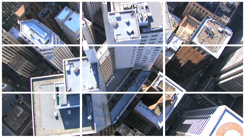 Multiple film images of skyscrapers city bridges and suburban San Francisco, North America