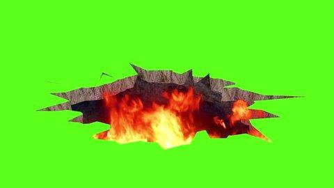 Surface Shatter Fire Green Screen 3D Rendering Destruction