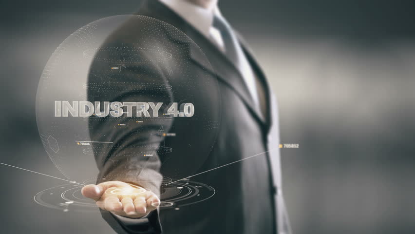 Industry 4.0 with hologram businessman concept
