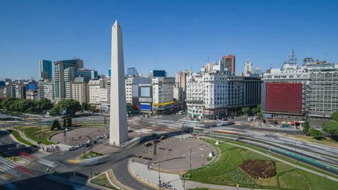 Argentina Buenos Aires Time-Lapse rush hour Downtown With Obelisco 4K
