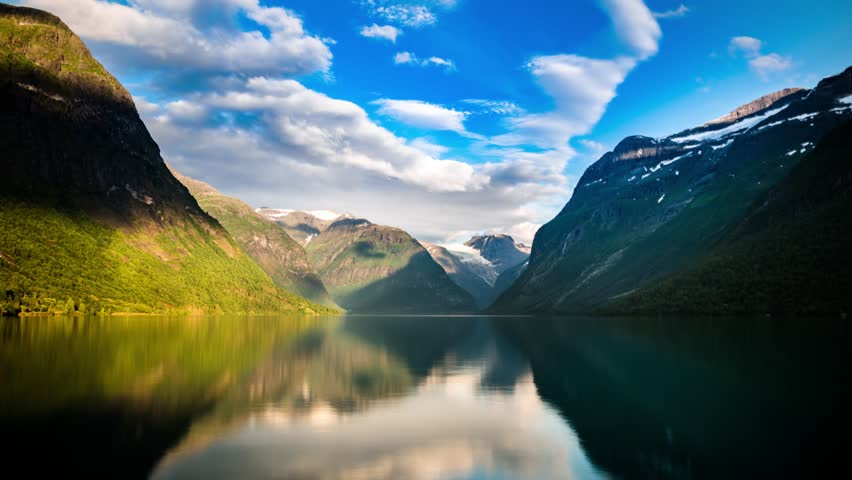 Beautiful Nature Norway natural landscape. lovatnet lake timelapse.