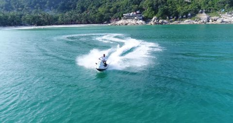 Aerial view of a man riding on a Jet Ski