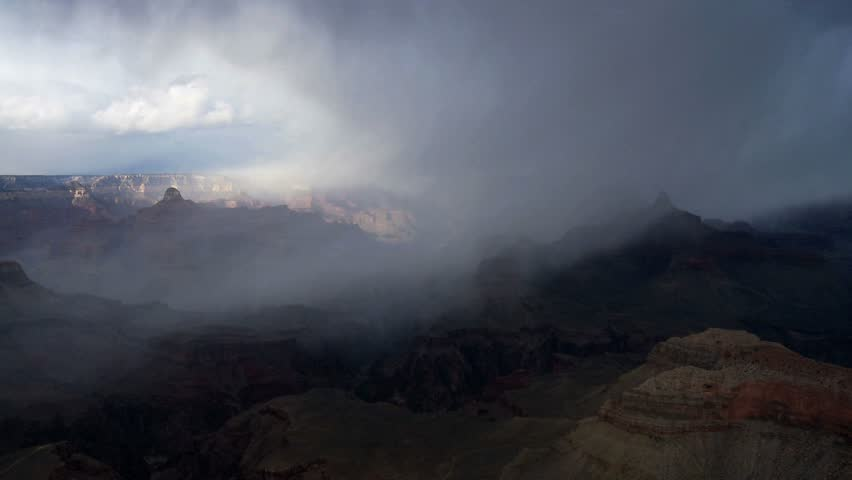 Time-Lapse of storm clouds moving over Grand Canyon