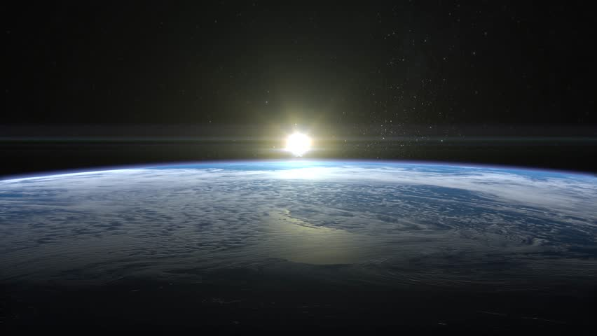Sunrise over the Earth. The earth slowly rotates. Realistic atmosphere. Volumetric clouds. View from space. Starry sky. 4K. | Shutterstock HD Video #25502447