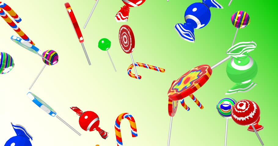 3D illustration animation with alpha, Candy Falling cartoon
