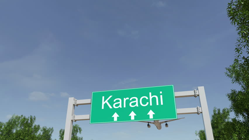 Airplane arriving to Karachi airport. Travelling to Pakistan conceptual 4K animation