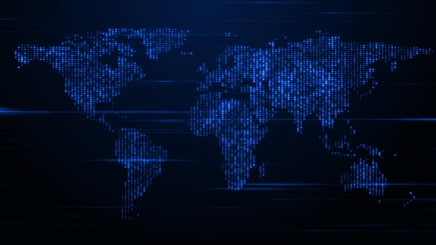 World map with connections and city lights loopable world map a shimmering and stylized map of the world hd stock footage clip gumiabroncs Image collections