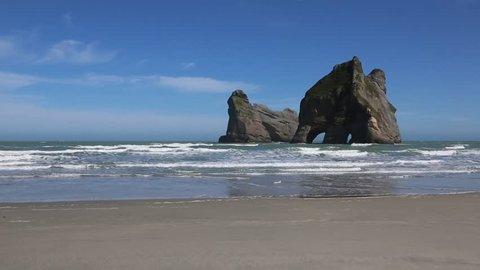 Archway Islands on Wharariki Beach, New Zealand, south island