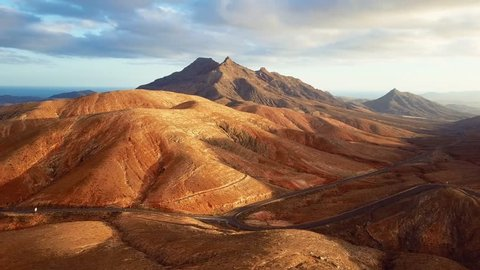 Flight over desert landscape, Fuerteventura island, Spain