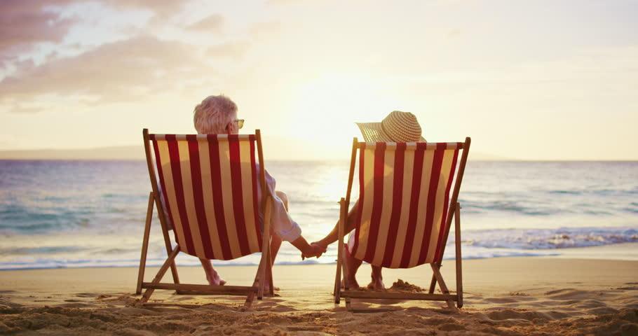 Happy Woman Sitting Beach Chair Happy Woman Drinking A