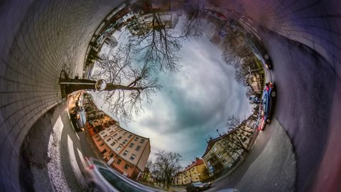 Opole Sweet Shop Area. Spherical Panorama of Old Cityscape, Video 360 Degree Rabbit Hole Planet 360 Degree, Timelapse. Opole Sights Nearby Cukernia. Traveling to Famous Places. European Cityscape,