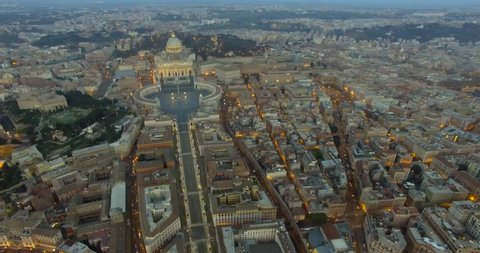 Beautiful aerial view over the City of Rome, Vatican, Castel Sant Angelo fortress and bridge