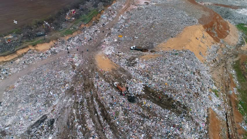 Aerial view of rubbish dump