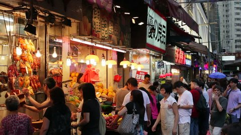 HONG KONG - CIRCA MAY 2011: Busy Market Street, Wan Chai, Central District