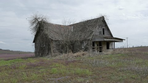 Cinematic tracking shot of an old vine covered, abandoned, run-down house on a prairie in middle of nowhere on an overcast windy day with even lighting as the camera tracks toward the vacated building